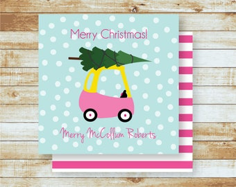 Personalized Gift Tags / Kids / Family / Pink Little Toy Car Bringing Home the Christmas Tree