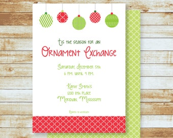 Party Invitation / Holidays / Christmas / Ornament Exchange