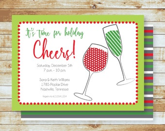Party Invitation / Holidays / Christmas / Cheers / Free Shipping