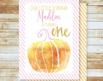 Personalized Birthday Invitation / Kids / Watercolor Pumpkin / Fall / Halloween / Free Shipping