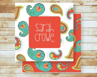 Personalized Calling Cards / Gift Tags / Paisley