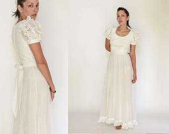 70s Lace and Ruffles Maxi Length Wedding Dress, White Dots Bridal Gown, S - M