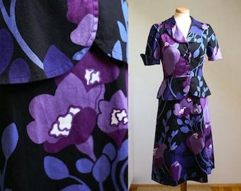60s 70s Kaisu Heikkilä Purple Floral Peplum Dress, Scandinavian Vintage, S-M
