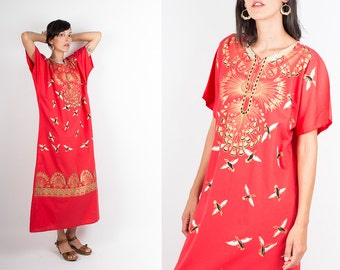 70s Red and Gold Painted Maxi Caftan, Flowers and Birds Boho Ethnic Long Tunic, Gypsy Festival Maxi Dress