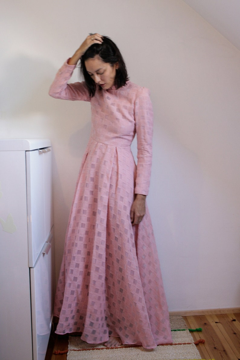 70s Maxi Pastel Dress Blushing Pink Floor Length Gown Etsy