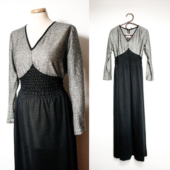 70s Black and Silver Evening Maxi Dress, Floor Len