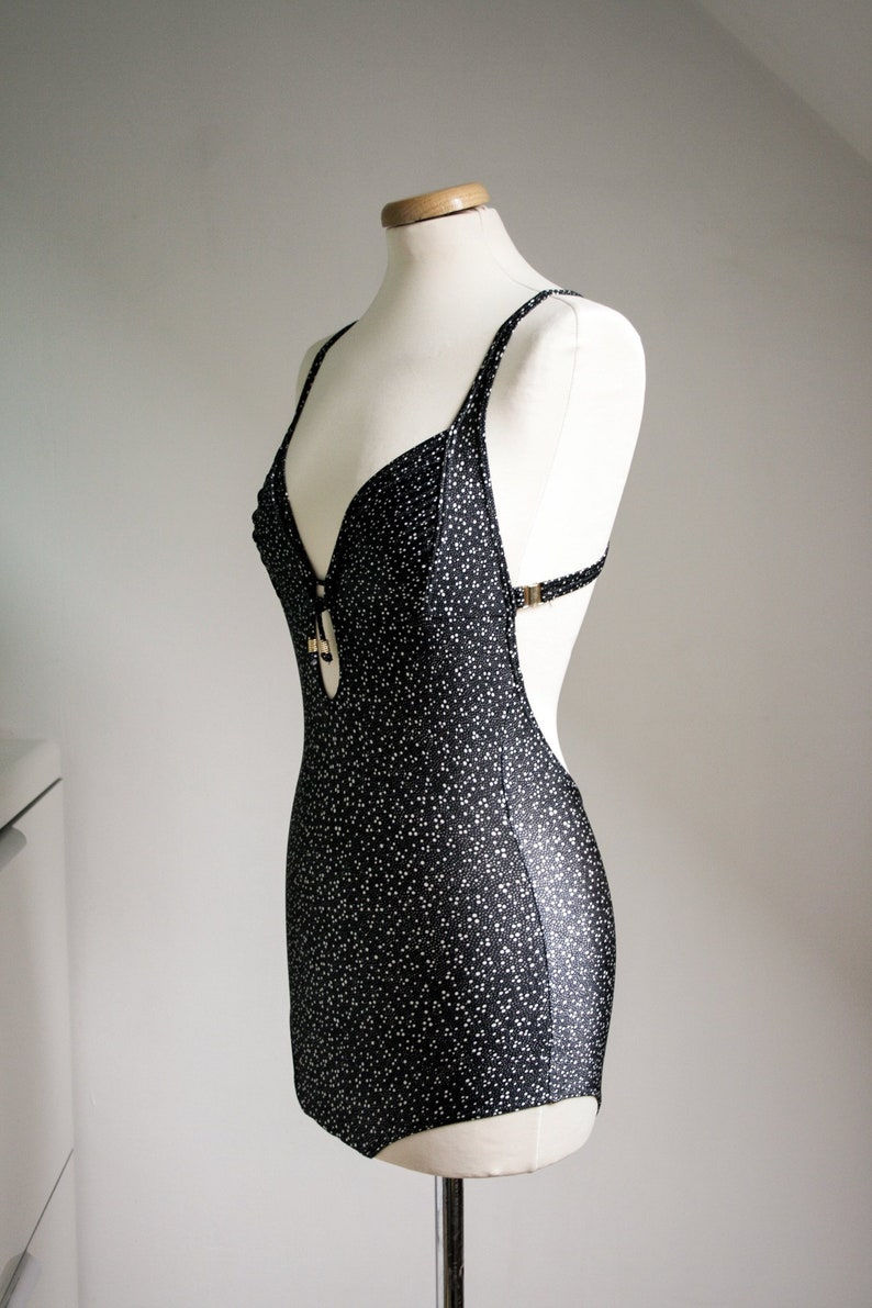 Black Retro Swimsuit with Tiny White Dots, Low Legs Cut, Very Low Criss  Cross Back, XS - S