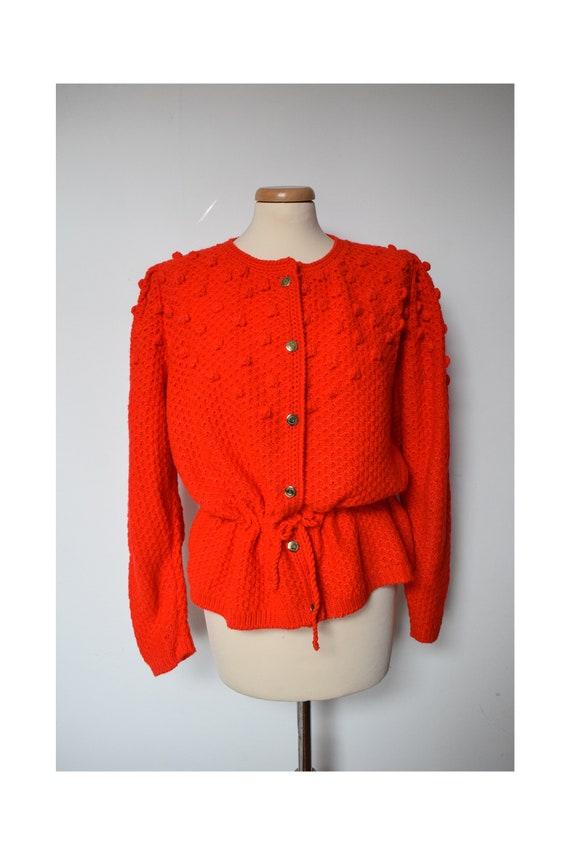 Popcorn Knit Bright Red Sweater, Boho Hippie Hand