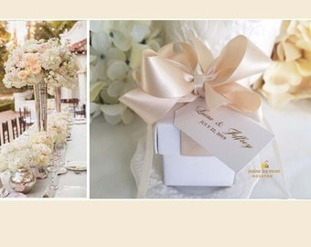 c0dace348c38 Wedding Favor Boxes 1.50 ea. Pom Bow Favor Boxes 33 of 2 inch 2 piece boxes  custom tag 2 piece box with ribbons and pom bow attached