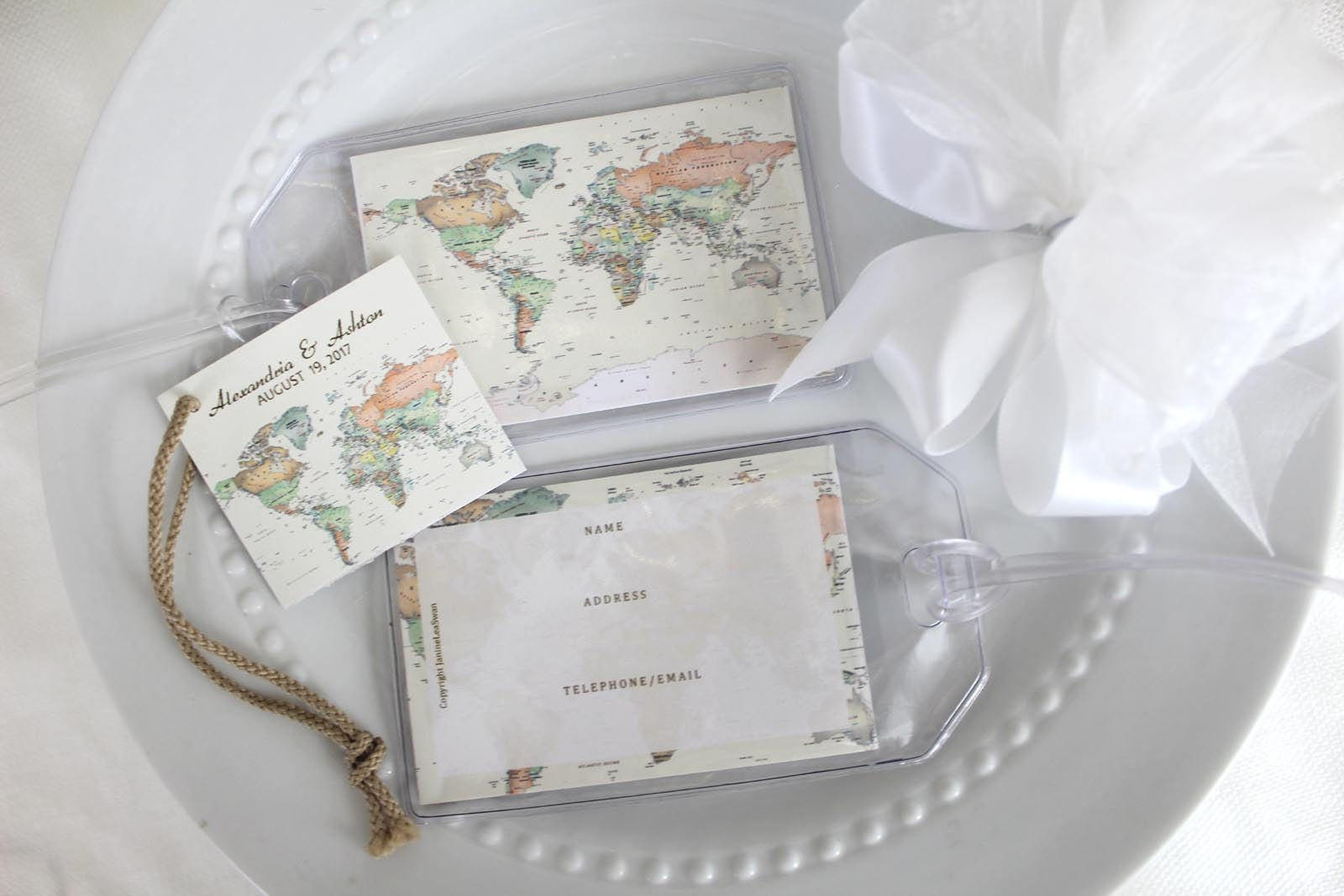 24 Destination Travel World Map Wedding favors and Gifts