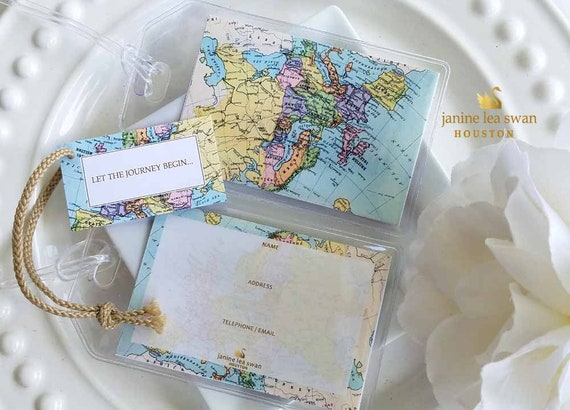 Wedding  Favors and Gifts Europe Pastelly Luggage Tags Gift Sets with Thank You Gift Cards 1.25 each