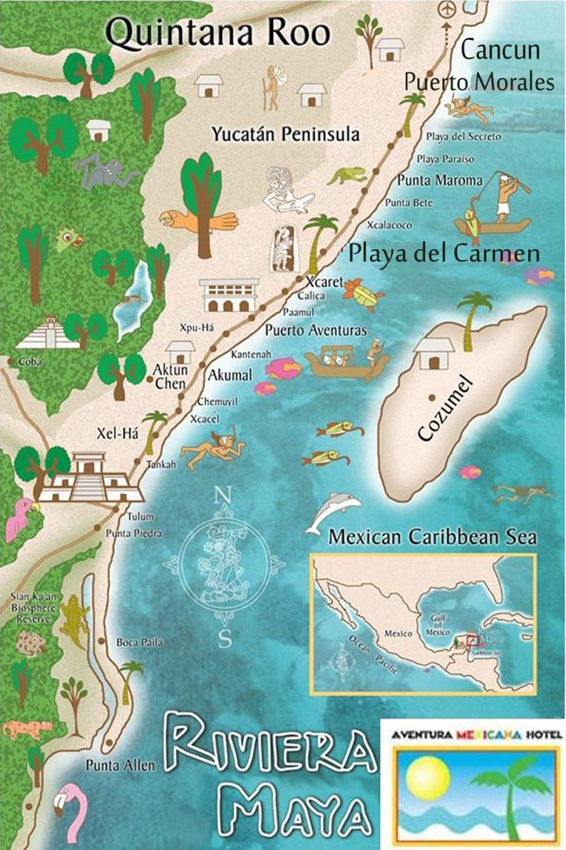 Cozumel Mexico Map Luggage Tags 45 At 1 75 Ea Vinyl Pouch Etsy