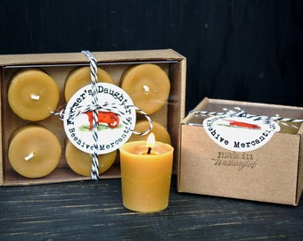 PURE BEESWAX VOTIVES, pure beeswax candle set in gift box, hygge decor, Clean Burning Beeswax Candles 100% Pure Natural Beeswax Candles