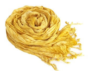 Womens scarves yellow, yellow scarf, yellow spring scarf, yellow crinkle scarf, yellow scarves, mother in law gift, vegan gift, trending now