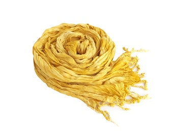 Yellow scarf, yellow spring scarf, yellow crinkle scarf, yellow scarf with fringe, summer scarf, yellow scarves, spring scarves, summer