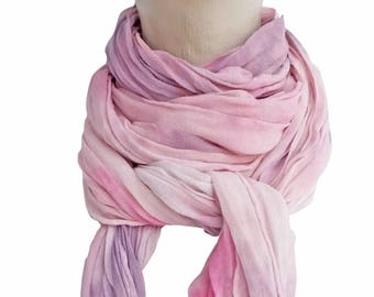 Blush scarf, pink silk scarf, blush boho scarf, pink chiffon scarf, silk crinkle scarf, trending now, gifts for bestfriend, wife gift scarf