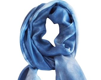 Blue scarf, womens scarves, blue silk scarf, lightweight silk scarf, lightweight silk wrap, scarf blue boho, wife gift scarf, blue silk wrap