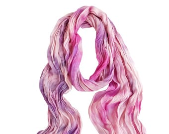 Blush scarf, trending now, pink crinkle scarf, pink silk scarf, trendy boho scarf, bestfriend gift, wife scarf gift, girlfriend scarf
