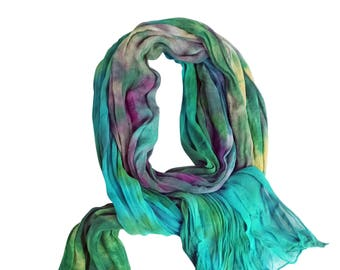 Green scarves, green silk scarf, green chiffon scarf, silk chiffon, crinkle chiffon, teal, turquoise, purple, gold, spring scarf, colorful