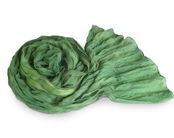 Green silk scarf, green scarf, green chiffon scarf, silk scarf, crinkle chiffon scarf, womens scarves, silk chiffon, kelly green, spring