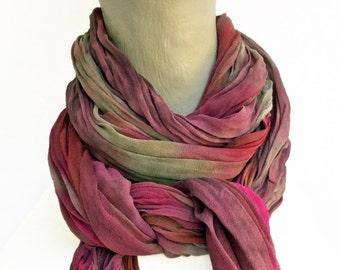 Burgundy scarves, burgundy silk scarf, burgundy chiffon scarf, silk chiffon scarf, dusty rose, cranberry, taupe, fuchsia, purple scarf, (B)