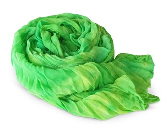 Green scarf, green silk scarf, green chiffon scarf, silk scarf, crinkle chiffon scarf, womens scarves, silk chiffon, bright green, lime