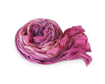 Blush scarf, pink crinkle scarf, pink silk scarf, fuchsia scarf, purple scarf, crinkle chiffon scarf, silk chiffon scarf, trending now, gift