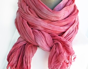 Pink scarf, pink crinkle scarf, pink fringe scarf, pink boho scarf, girlfriend gift scarf, wife gift scarf, scarf gift wife, spring scarf