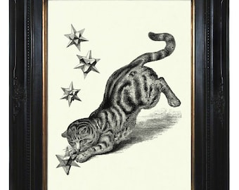 Cat Art Print hunts Geometric Star Shape Form Polyhedron Poster Steampunk Pet Victorian Engraving Surrealism III