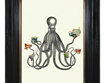 Octopus Art Print Kraken Tea Party Cups Teapot Tentacles - Victorian Steampunk Art Print