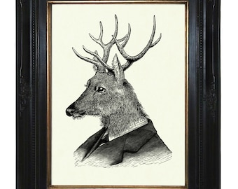 Deer Art print Gentleman Stag Portrait Antlers Victorian Steampunk Art Print Frock Woodland Animal