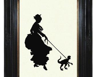 Silhouette Girl Lady Pet Dinosaur Art Print Raptor Velociraptor - Victorian Steampunk Art Print