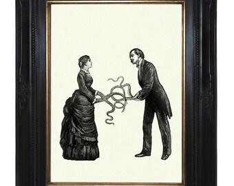 Art Print Valentine's Day Victorian Couple with Tentacle arms Octopus Kraken Lady Gentleman Steampunk Art Print