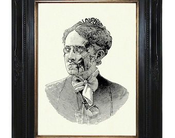 Zombie Nanny Mary Poppins Lady Victorian - Steampunk Art Print Portrait Halloween Gothic