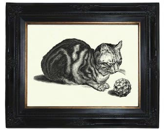 Cat Art Print Geometric Shape Form Polyhedron Steampunk Poster Pet Victorian Engraving Surrealism II