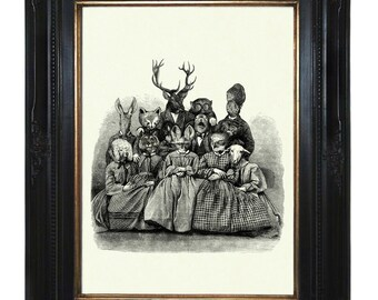 Animal Family Art Print Portrait Victorian Steampunk Zoo Deer Stag Parents Children Fox Octopus Sheep