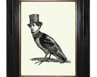Gentleman Birdman with Top Hat Victorian Steampunk Art Print Raven Crow Halloween Surreal