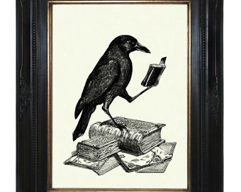 Halloween Raven Art Print Crow reading a Book Edgar Allan Poe - Victorian Steampunk Gothic Art Print