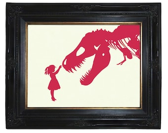 Dinosaur Art Print Silhouette Girl with T-Rex Dinosaur Nursery - Art Print Victorian Steampunk Pink and other colors