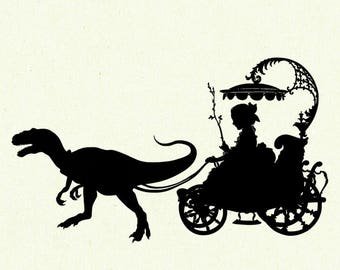 Dinosaur Art Print Silhouette Girl Carriage Pet Raptor Velociraptor SMALL art print Victorian Steampunk Jurassic Park