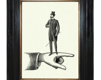 Victorian Gentleman Art Print Hand Top Hat Steampunk Art Print Surrealism Frock Coat Cane