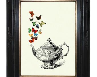 Teapot Butterflies Art Print Teaparty Kitchen Victorian Steampunk Art Print Porcelain Insects