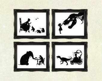 Art Prints DISCOUNT SET - Buy any 4 prints of Victorian Steampunk Art Prints silhouettes or Collages