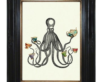 Octopus Art Print Kraken Tea Party Cups Teapot Tentacles - Victorian Steampunk Art Print