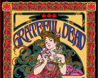 Grateful Dead art nouveau Vancouver concert poster limited edition
