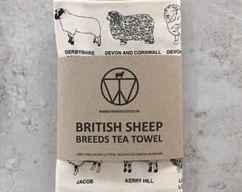 British sheep breed tea towel