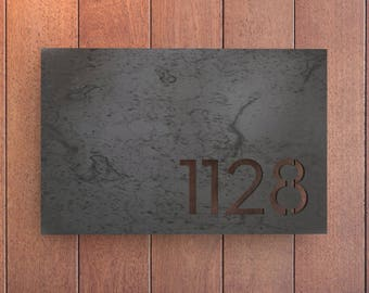 Melrose House Numbers / Raw Steel / Rectangular Plate