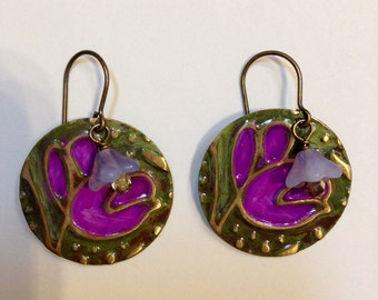 Earrings Brass Earrings Woodland Earrings Purple Earrings Green Earrings Mothers Day Gift