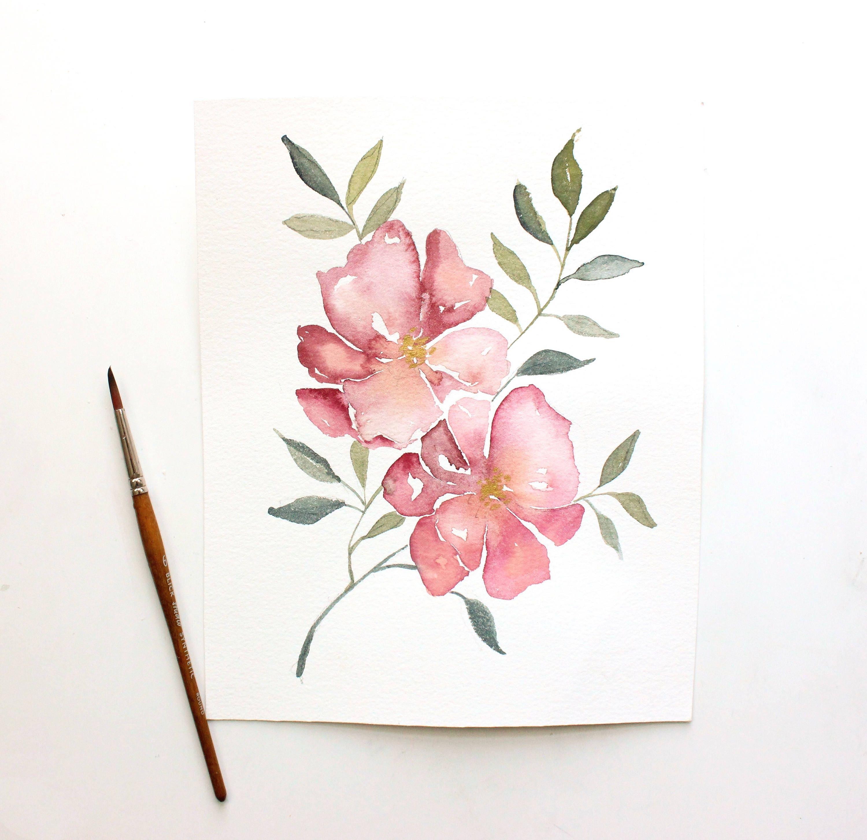 Simple flower portrait Watercolor Floral Print   Etsy