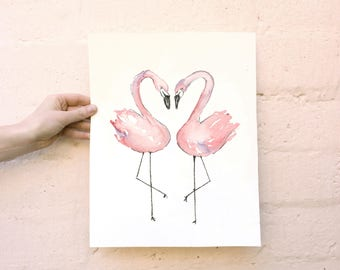 Flamingo Pair Watercolor Print